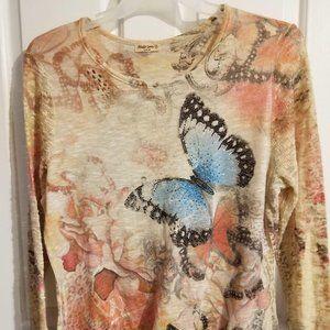STUDIO GEM beautiful butterflies and flowers Sz XL